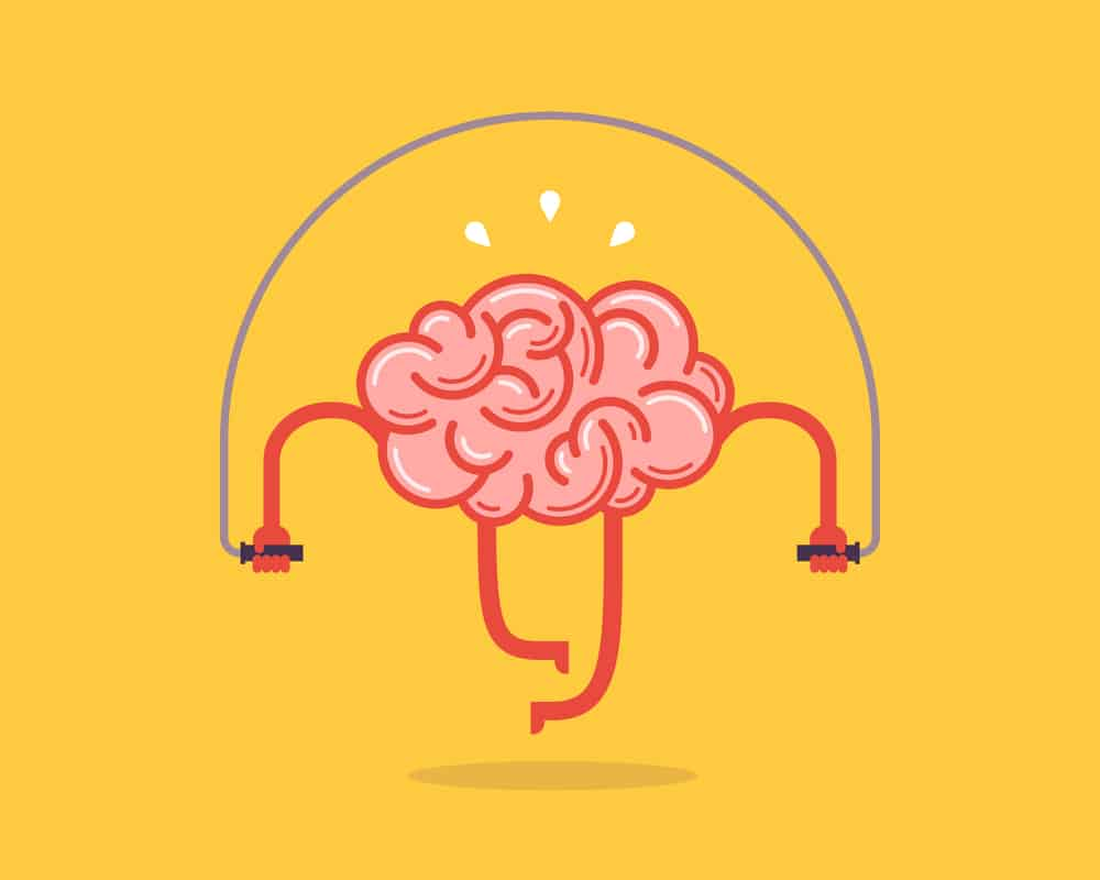 Graphic illustration of a pink brain jumping rope
