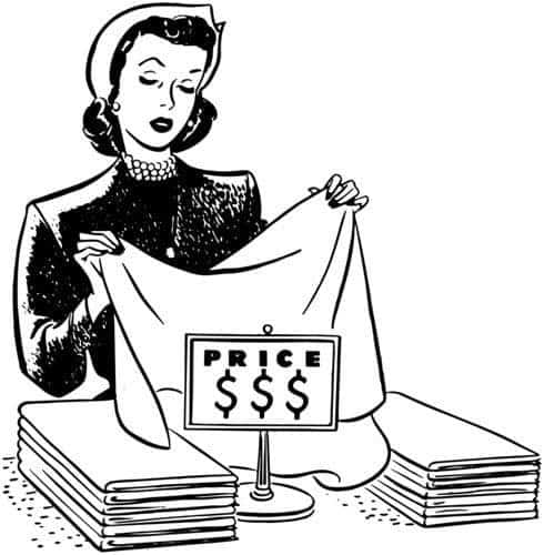 vintage illustration of woman shopping for linens