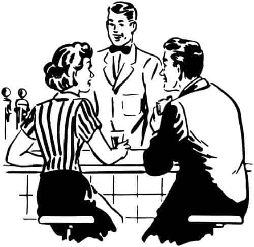 Dating Couple Talking With The Soda Jerk